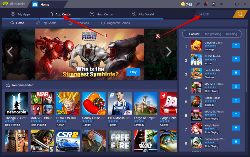 BlueStacks Main Screen For Searching IPTV