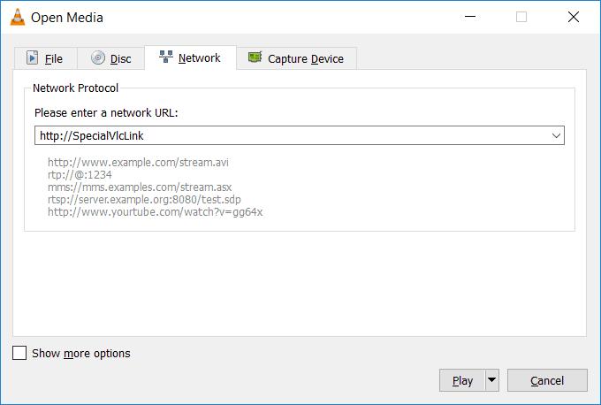Enter VLC Network URL