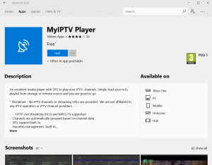 MyIPTV Player App Download Screen