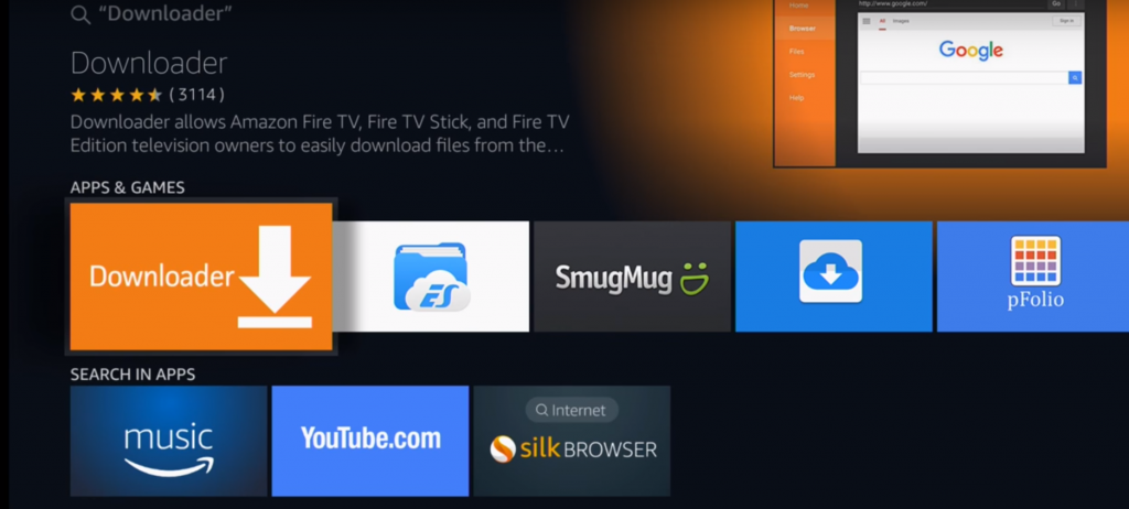 search for downloader app firestick