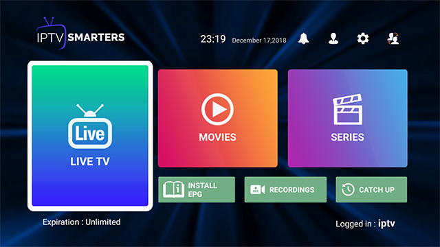 iptv smarters dashboard screen
