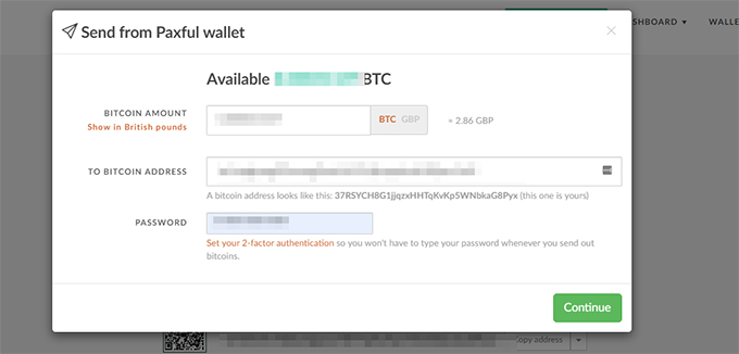 Sending Bitcoins in paxful