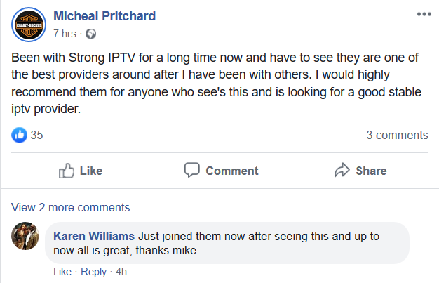 strong iptv facebook review