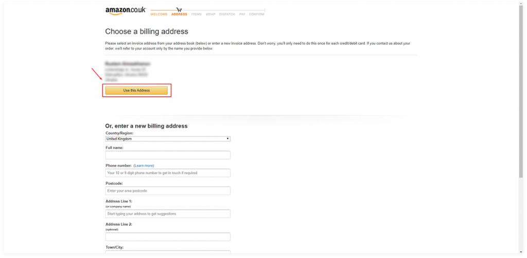 select billing address