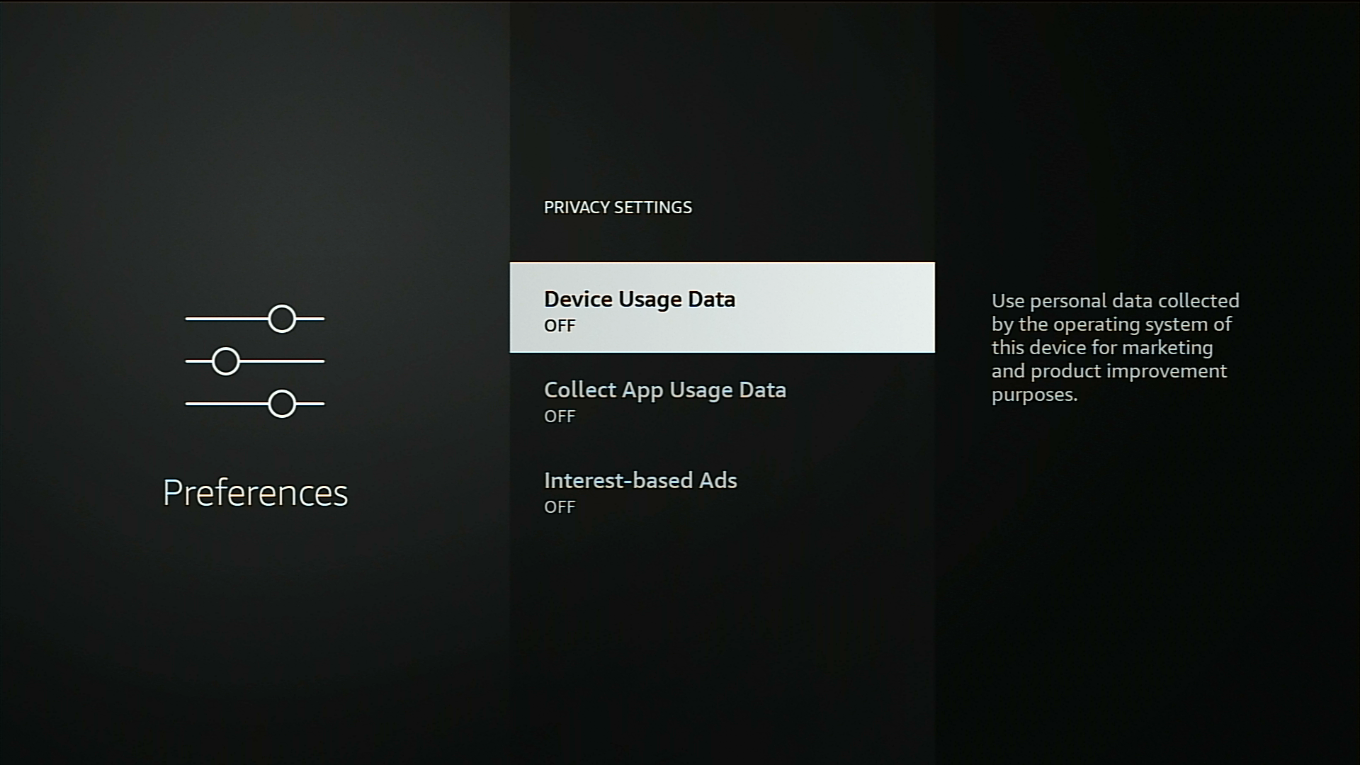 Privacy settings on a firestick