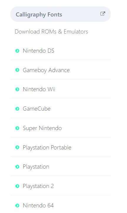 Romsgames console list
