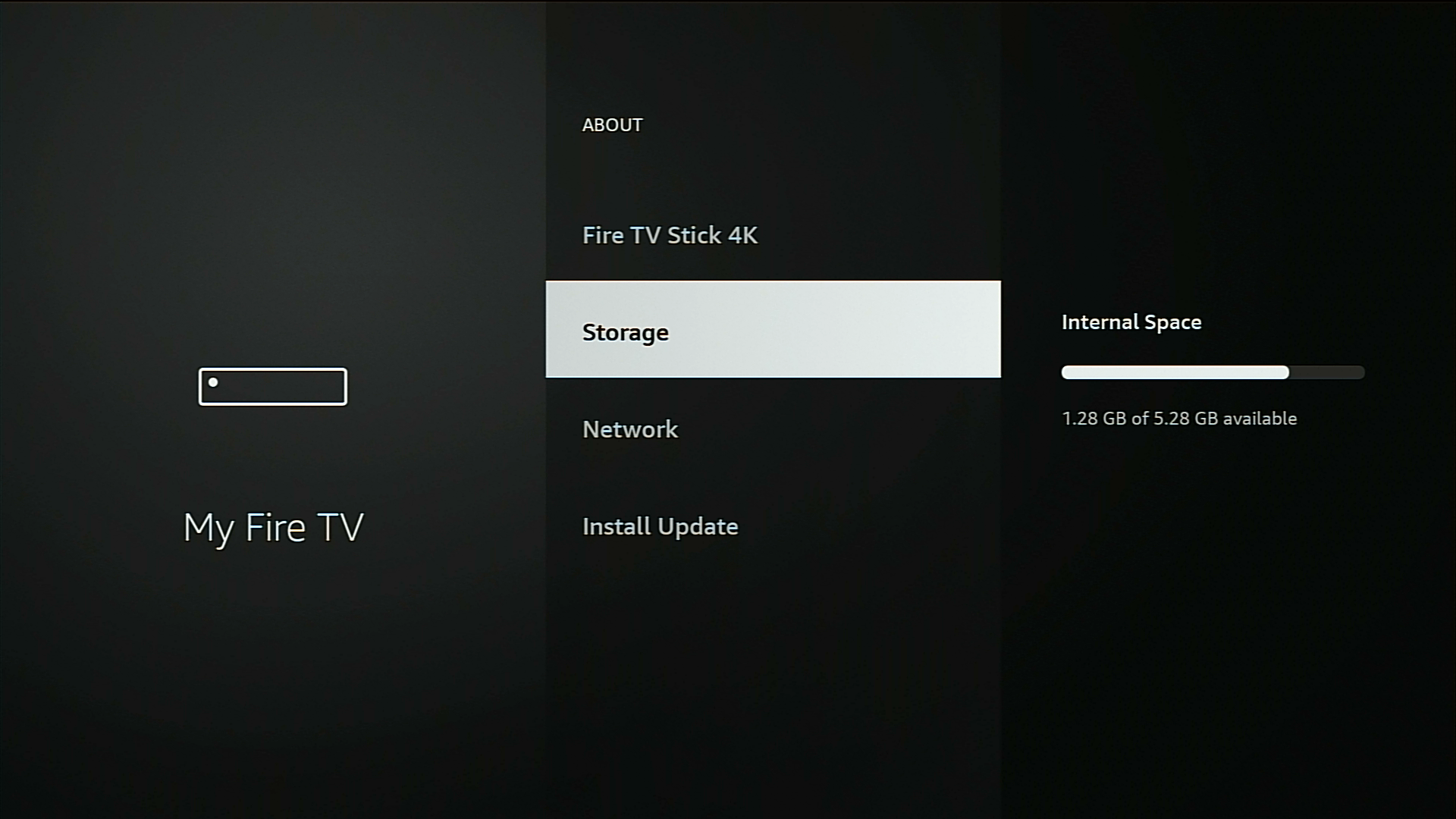 checking how much storage is left on firestick