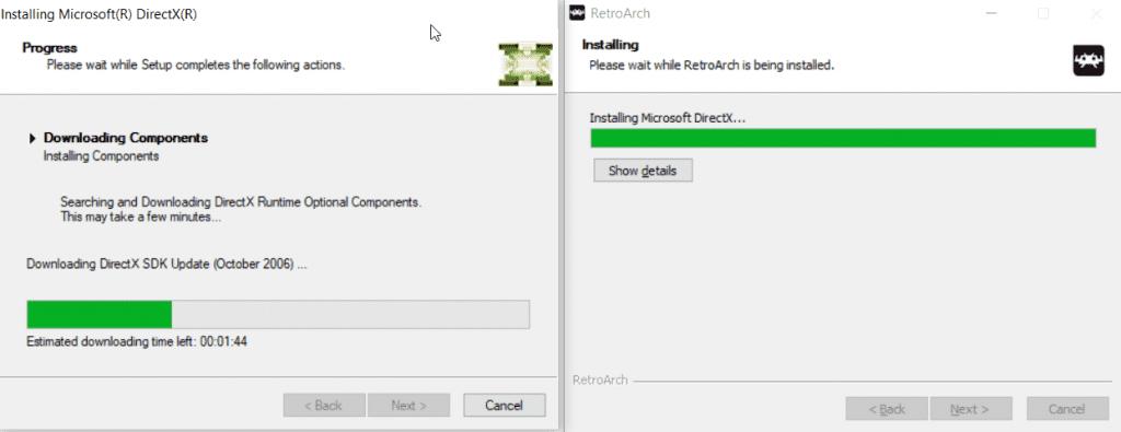 installing directX for retroarch