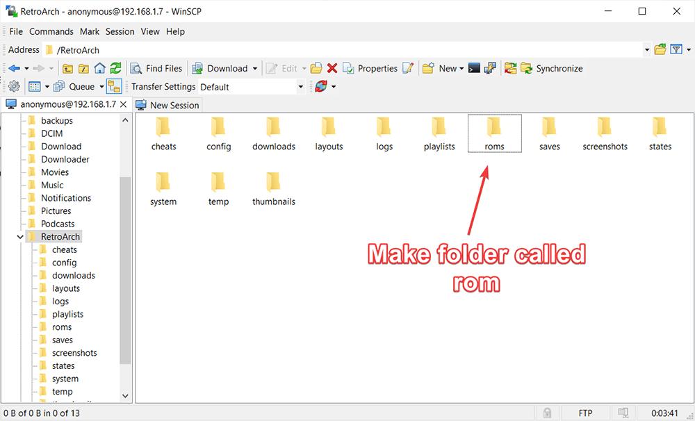making a rom folder for retroarch